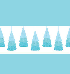 Layered blue decorative tassels set vector