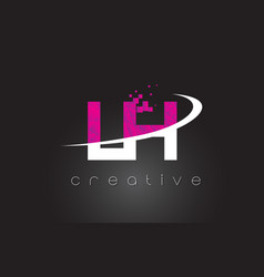 Lh l h creative letters design with white pink vector