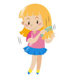 Little girl combing her hair vector