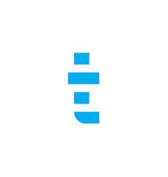 logo letter t blue stripes vector image