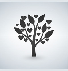 Love tree with heart leaves valentines day vector