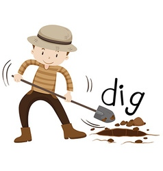 Man with shovel digging a hole vector