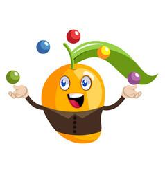 Mango juggling on white background vector