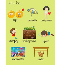 Many words begin with letter U vector