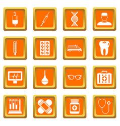 medicine icons set orange vector image vector image