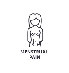 Menstrual pain thin line icon sign symbol vector