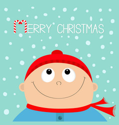 merry christmas candy cane kid face looking up vector image
