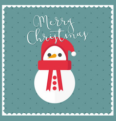 merry christmas snowman vintage frame background vector image