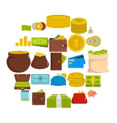 money icons set flat style vector image
