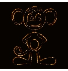 Monkey silhouette of lights vector image