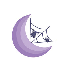 moon spider cobweb icon trick or treat happy vector image