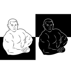 muscle man bodybuilder icon vector image