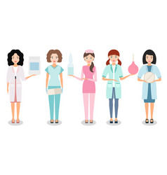 nurse or female doctor with medication in hand vector image