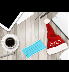 office background with santa hat facial mask vector image