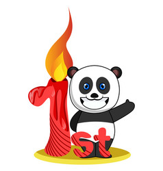 pandas first birthday on white background vector image