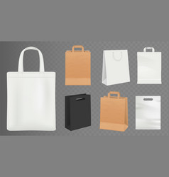 paper bags realistic craft shopping bag white vector image