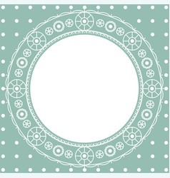 Pattern lace openwork round frame for text vector