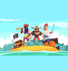 Pirates at sea composition vector