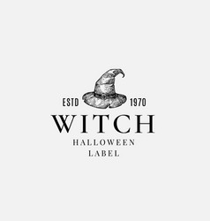 premium witch halloween logo or label template vector image