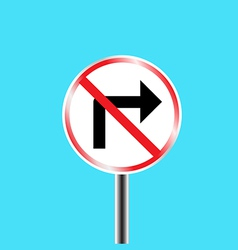 Prohibitory traffic sign right turn prohibited vector image