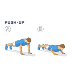 Push-ups home workout exercise man silhouette vector