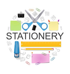 realistic office stationery round concept vector image