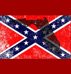 rebel civil war flag with florida map vector image
