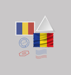 Romania flag postage stamp set isolated on gray vector
