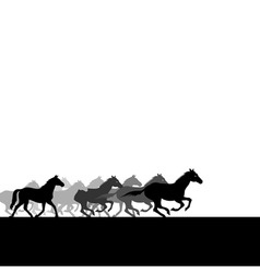 run of herd of horses across the field a vector il vector image