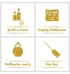 Set of Halloween gold textured icons vector image