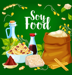 Soy food and seasoning products banner vector