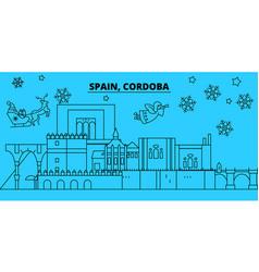 spain cordoba winter holidays skyline merry vector image