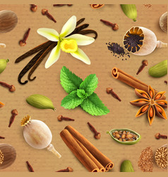 Spices seamless pattern vector image