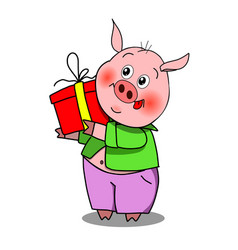 Stock merry pig with gift vector