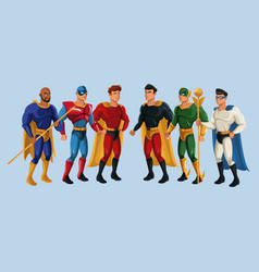 Team superhero strong male group power vector