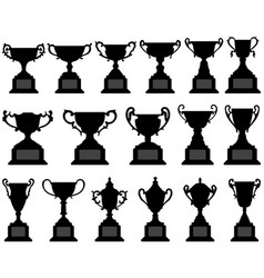 trophy cup silhouette black set a set of vector image