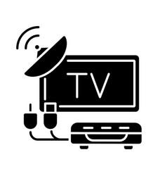 Tv tuner black glyph icon vector