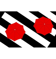 Two red umbrellas on stripes background vector