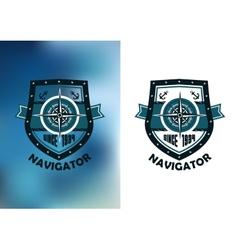 Vintage marine navigator label or emblem vector image