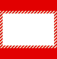 Warning sign red and white stripes frame vector