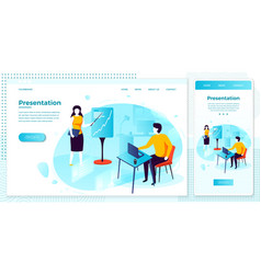 web presentation meeting in office set vector image
