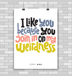 weird and beautiful poster template with hand vector image
