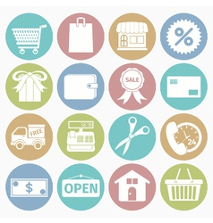 white icons shopping vector image