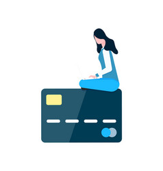 Woman sit on credit card shopping online payment vector