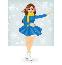 Woman skating outdoors on the ice rink vector