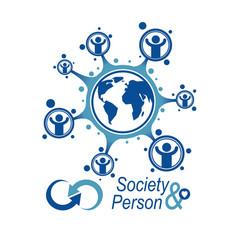 World and person creative logo unique symbol vector