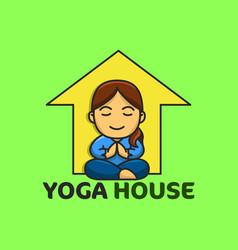 yoga house good for yoga logo and badge fun vector image