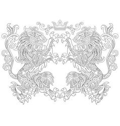 Zentangle stylized cartoon lion and crown vector image