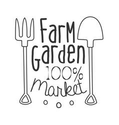 100 percent farm garden market black and white vector image