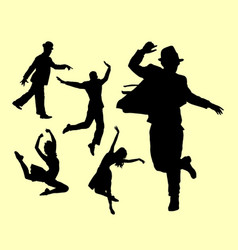 Dancer male and female silhouette vector